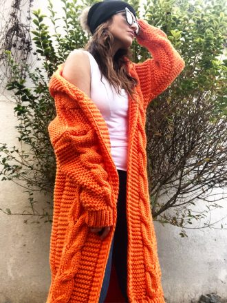 Długi sweter z kapturem * orange
