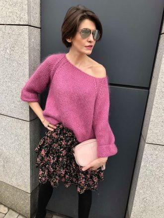 Moherowy sweter hand made * candy pink