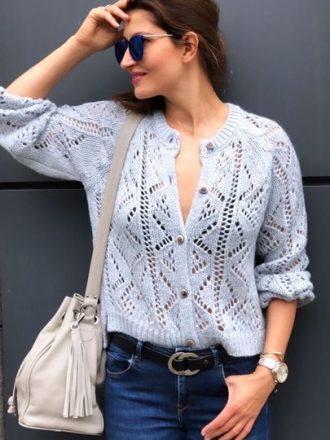 Ażurowy sweterek * błękit