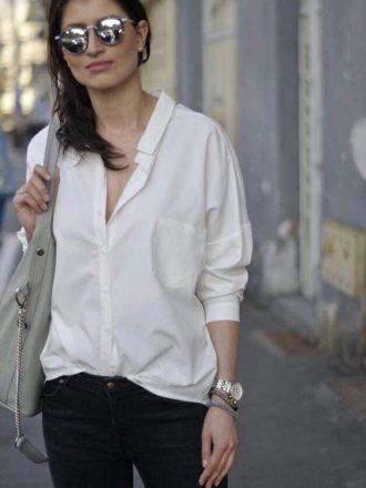Koszula z kokardką – biel