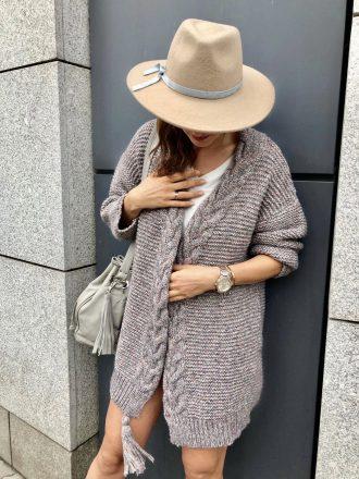 Sweter boho z warkoczem i fredzlem * beż melange