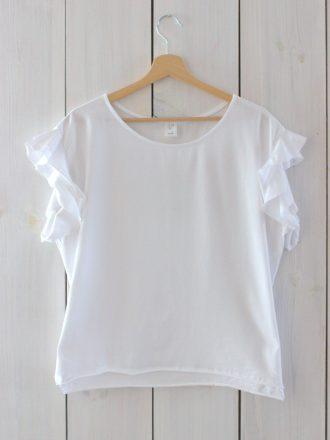 T-shirt z falbankami * biel
