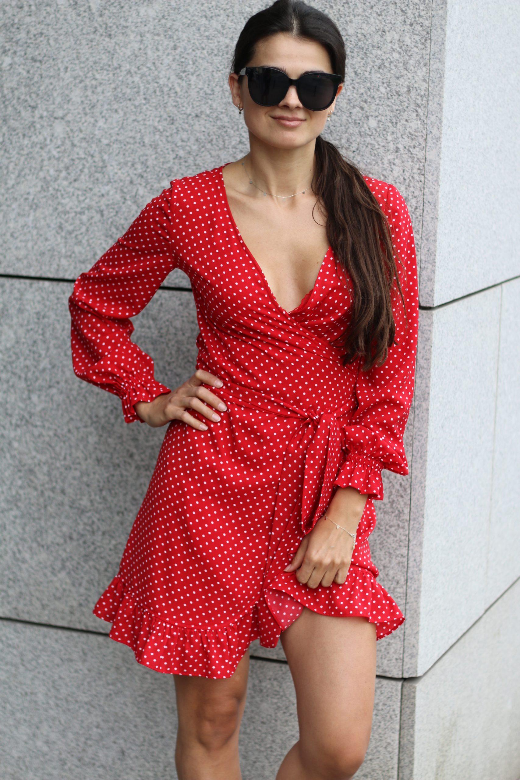 Sukienka Dolce Vita * czerwona w białe groszki