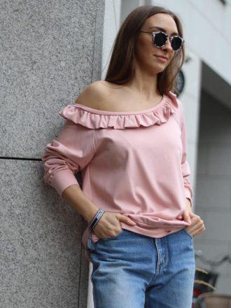 Bluza z falbaną * pudrowy róż
