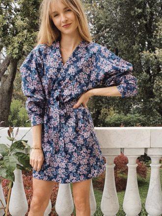 Amanda flower dress 8 niebieskie kwiatuszki