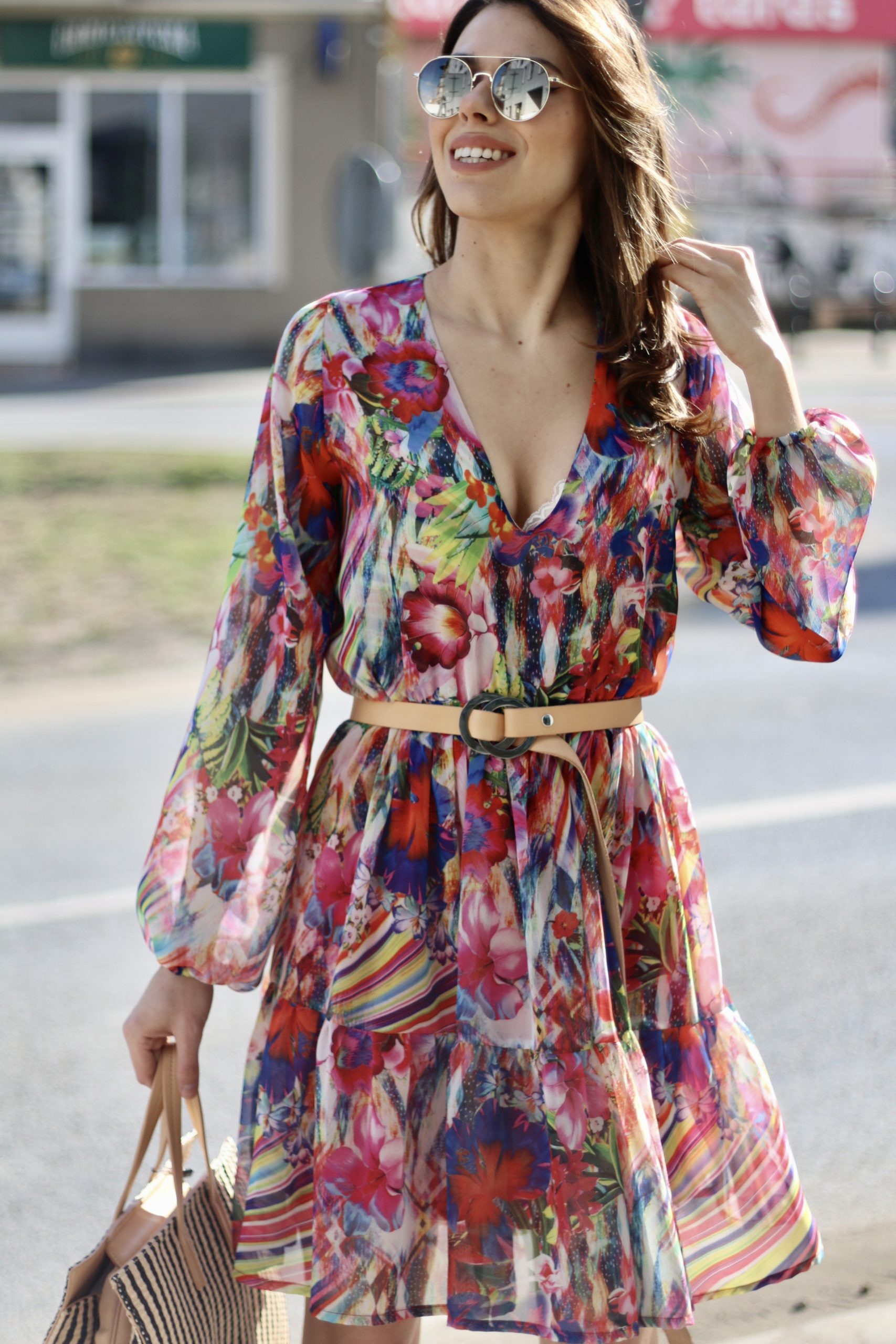Sukienka Zoe * malinowe kwiaty