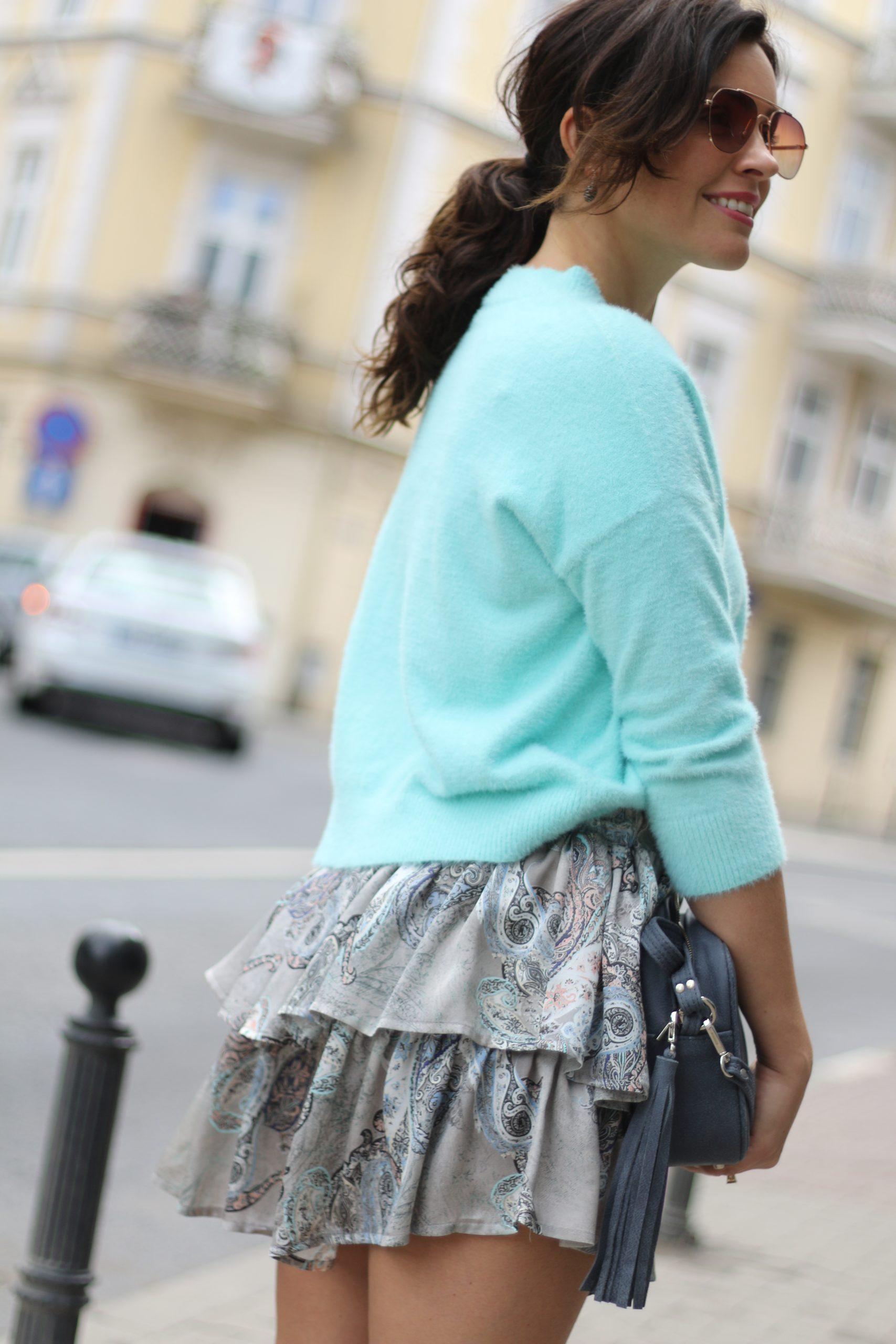 Mini spódniczka asymetryczna * szary paisley
