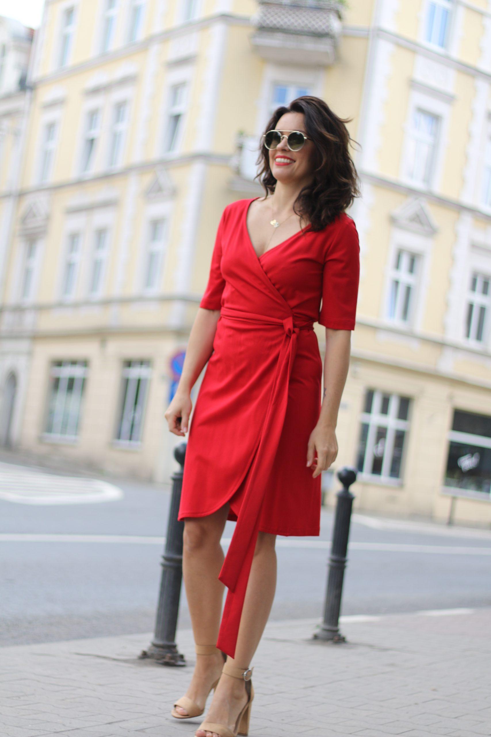 Sukienka kopertowa * czerwona