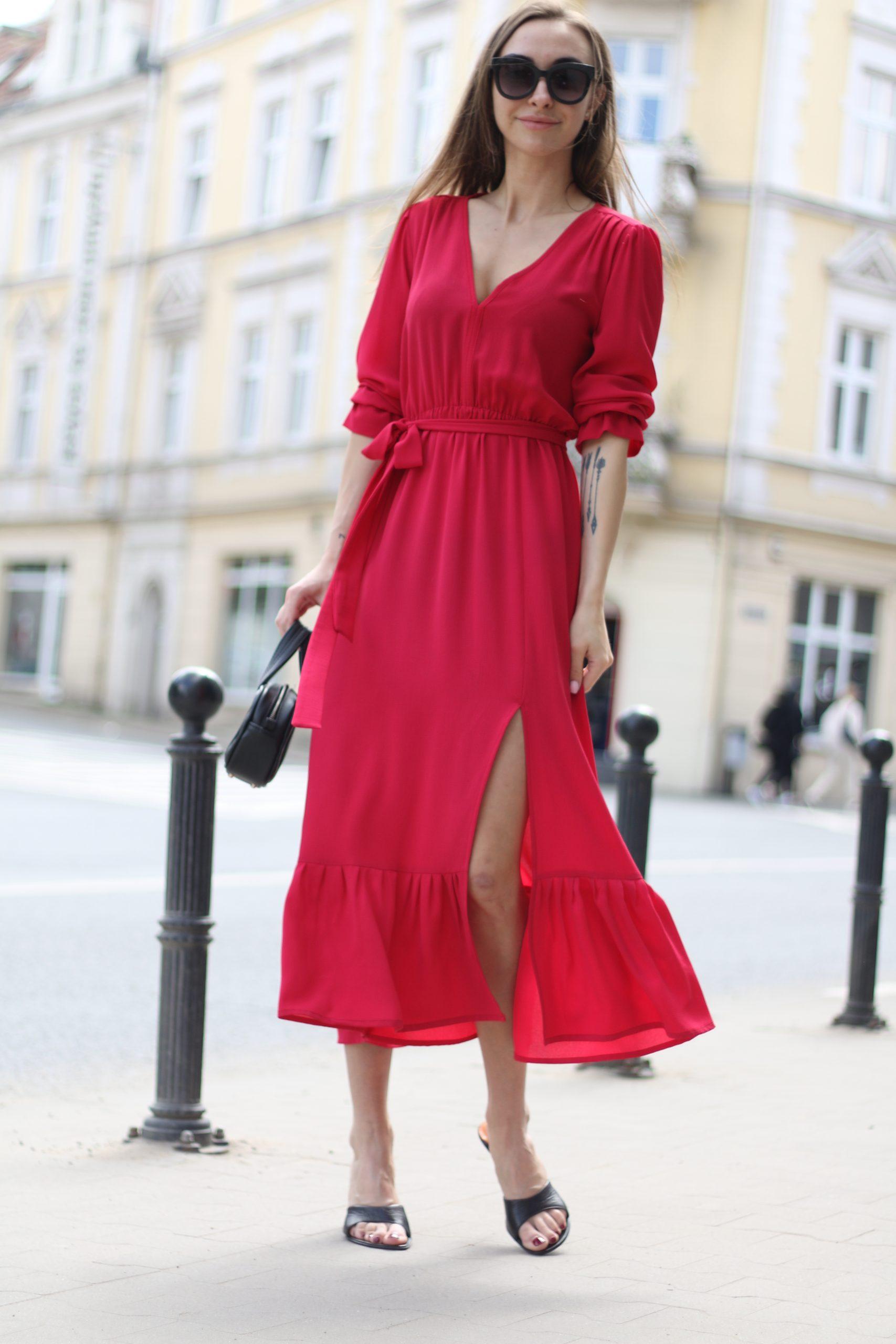Sukienka boho midi Selena * malinowa czerwień